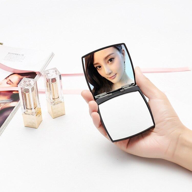 Mini espejo cuadrado forma chica Mini doble lados portátil de bolsillo espejo de maquillaje cosméticos compacto espejos envío de la gota