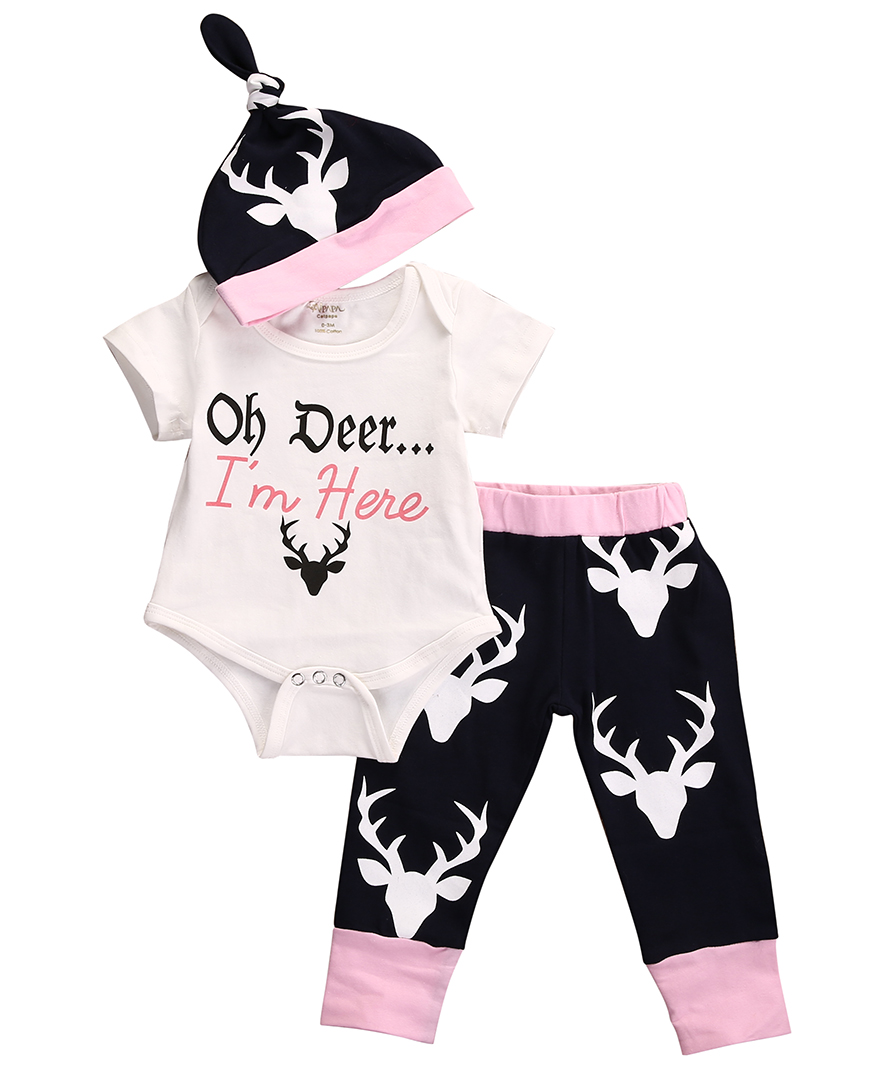 3PCS Sets Newborn Baby Girls Clothes Short Sleeve Deer Top Romper+Long Pants+Hat Outfits Kids Baby Summer Clothes Suits