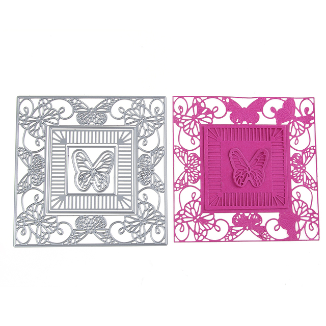 2017 Embossing Steel Square Butterfly Cutting Dies Stencils DIY ...