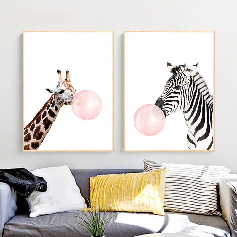 Gut Giraffe Zebra Chewing Gum Canvas Mural Poster Nordic White Based Wall  Painting Cute Animal Art Paper
