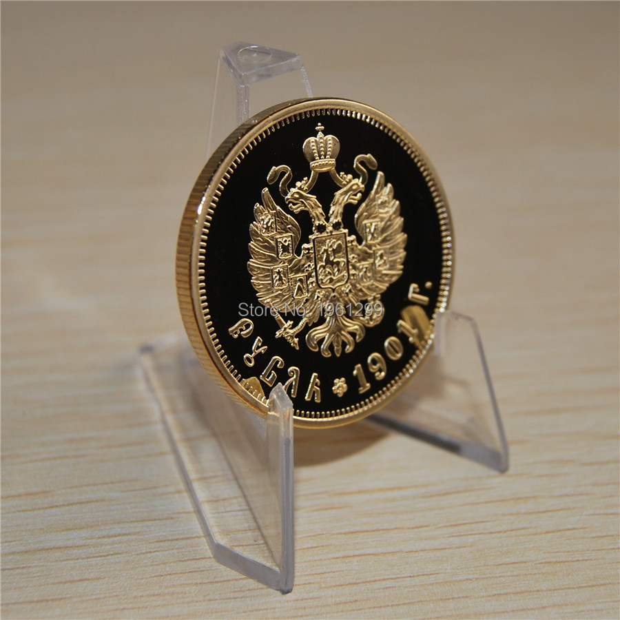 wholesale 5pcs/lot IMPERIAL RUSSIA 1901 Nicholay ll 1 Rubles Gold Coin ,free shipping
