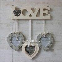 3 Boxes Set Love Wood Frame For Home Decoration