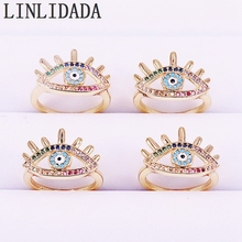 8Pcs For Women Gold Jewelry Micro Pave Zirconia Rainbow Colorful Cz Eye Charm Rings