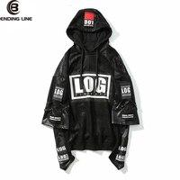 Bending line Winter Jacket Hoodie Men Sweatshirts 2pc Leather Stitching Rock Style 3d Printed Hoodies Rap Male Sweatshirt