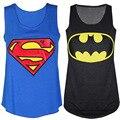 2017 camisetas del verano mujeres de la manera del o-cuello superman hero batman impreso tees tank tops camisetas sin mangas ocasional niñas camiseta