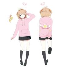 "Cartoon""CARDCAPTOR SAKURA""KINOMOTOSAKURA Cosplay Costumes 2017 Fall Casual Wing Hoodies Girls Jacket Zipper Sweater Clothing"