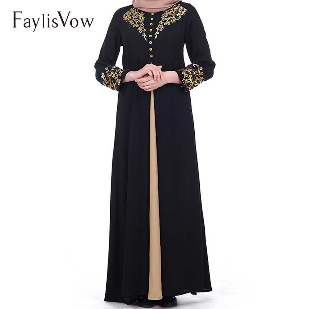 384ef413f715 Muslim Dress Women Elegant Gold Stamping Printing Dubai Abaya Dresses  Casual Long Sleeve Kaftan Maxi Dress