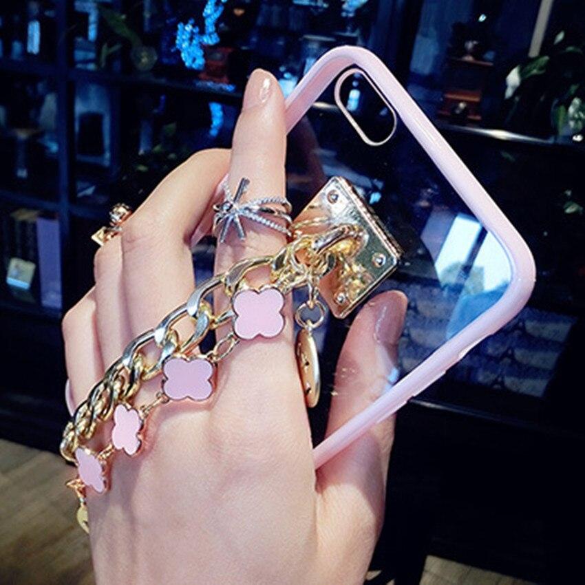Luxury Flower <font><b>Bracelet</b></font> Transparent <font><b>Case</b></font> for iPhone 6 6s plus 7 plus Smile pendant Women <font><b>Phone</b></font> <font><b>Case</b></font> for iPhone 5 5s SE Soft Cover