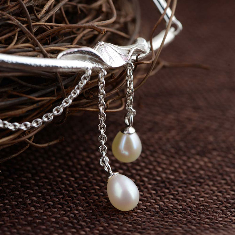 FNJ Pearl Pendant Necklaces Women Torques 45cm Chain 925 Silver Necklace S925 Thai Solid Silver Jewelry