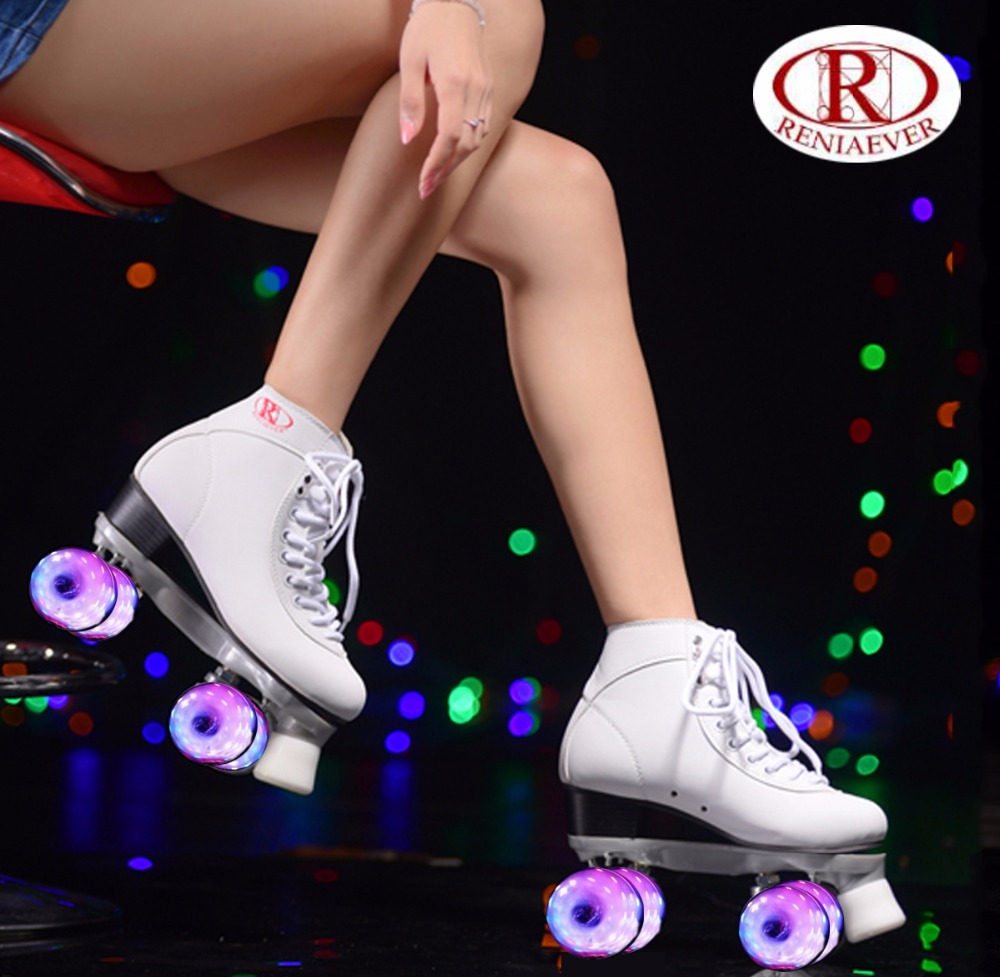 RENIAEVER double roller skates, skating shoe, Gift girls white flashing wheels roller shoe, figure skates,white ...