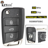 KEYECU 10x 434MHz ID48 Chip 3 Button Keyless go/ Flip Remote Key Fob for Volkswagen MQB Golf VII MK7, for Skoda Octavia A7