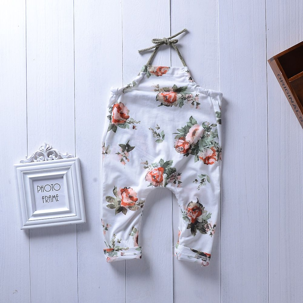 f251409d983 2018 Summer New Sleeveless Toddler Baby Kids Girl Flower Lace Halter Floral  Romper Jumpsuit Clothes