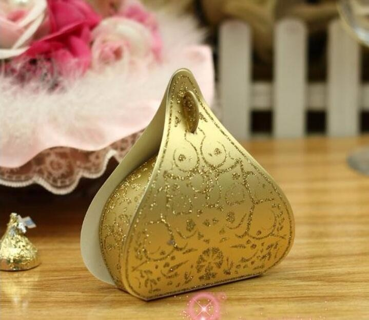 Creative hershey shape GOLDEN POWDER candy favor box bomboniere sweets dragee package for wedding engagement party