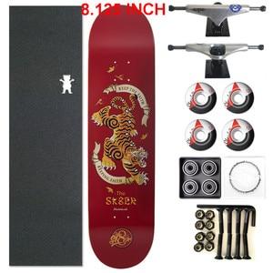 Image 4 - SKATER 1 Set Pro Qualität Komplette Skateboard Deck 8,125 zoll Skate Bord Räder & Lkw Doppel Rocker Skateboard Teile