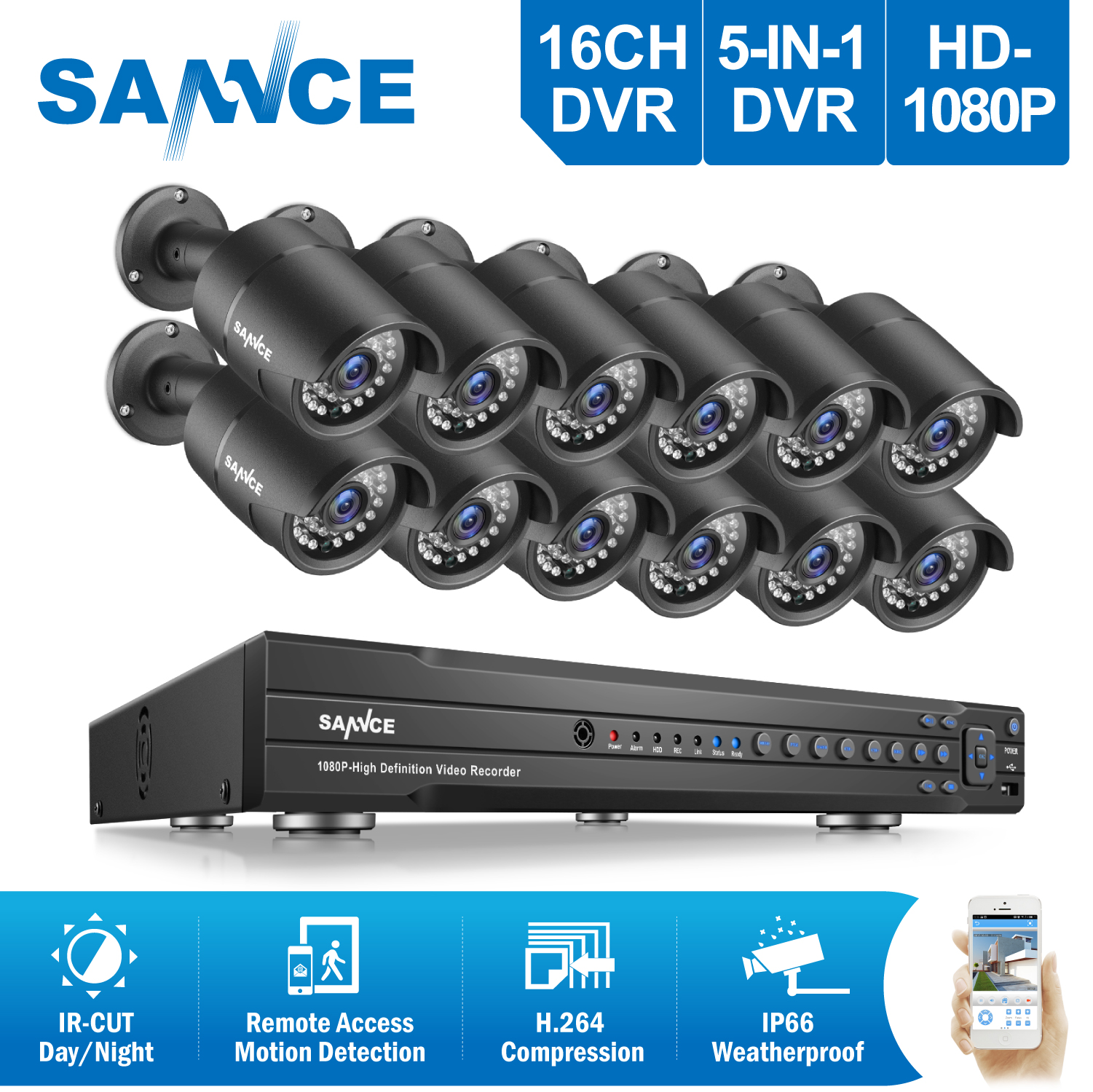 SANNCE 16CH 2MP 1080P Full HD CCTV System HDMI DVR 12PCS bulletHome Video Security Cameras Surveillance System 2TB HDD