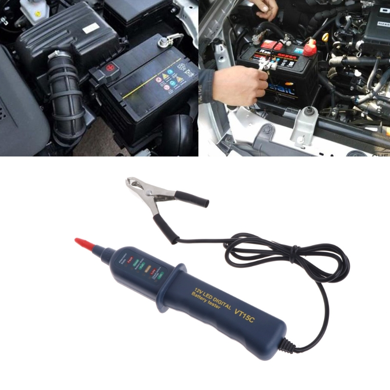 VT15C Smart 12V <font><b>Car</b></font> <font><b>Battery</b></font> Tester Digital Auto Alternator Analyzer Before Charge Check <font><b>Diagnostic</b></font> <font><b>Tool</b></font> Voltmeter 6 LED Lights image