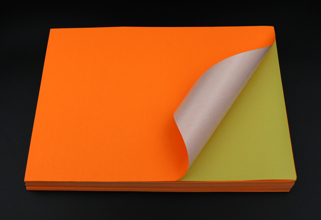 100 sheets fluorescent neon orange a4 self adhesive paper printing