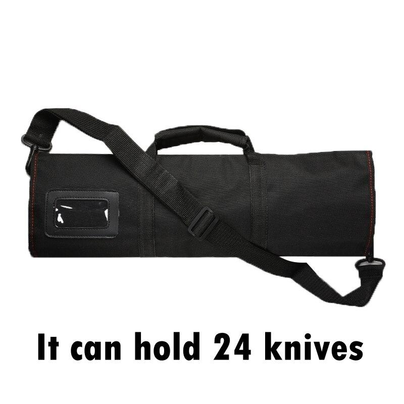 1pcs Black 12 Pocket Chef Knife Bag Roll Bag Carry Case Bag Multi-function Kitchen Cooking Accessories Portable Chef Storage Bag