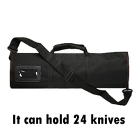 1pcs Black 12 Pocket Chef Knife Bag Roll Bag Carry Case Bag Multi function Kitchen Cooking Accessories Portable Chef Storage Bag