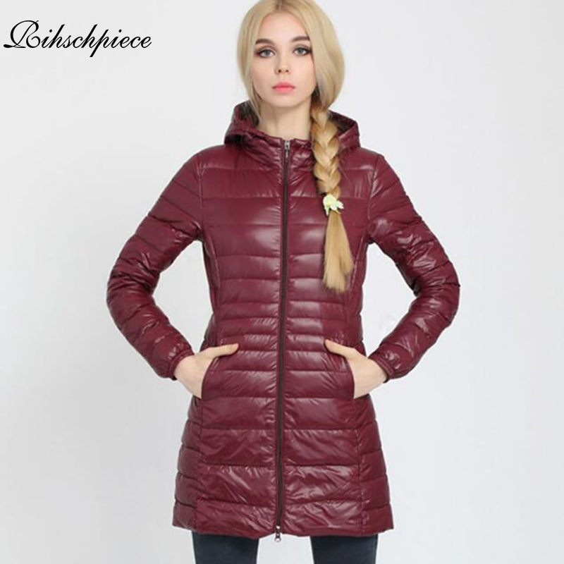 Rihschpiece 2018 Winter Hoodie Plus Size 3XL Jacket Women Long   Parka   Ultra light Coat Padded Jackets Casual Clothes RZF1329
