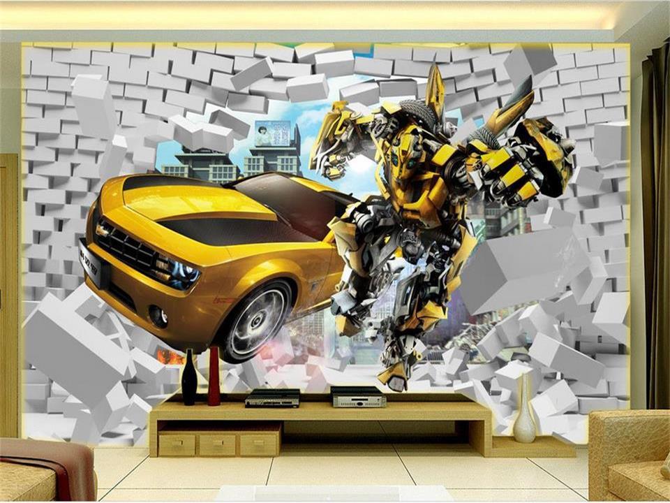 3d photo wallpaper custom mural kids room car Transformers brick 3d painting sofa TV background non-woven wallpaper for wall 3d