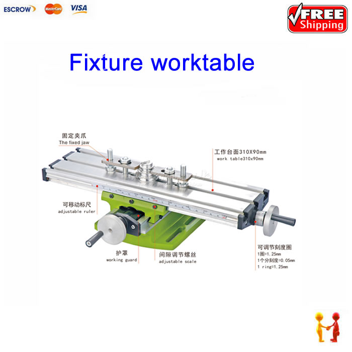 CNC Milling Machine Bench drill Vise Fixture worktable X Y-axis adjustment Coordinate table aluminum alloy table flat bench vise drill press milling vise fixture worktable for wood metal plastic milling machine