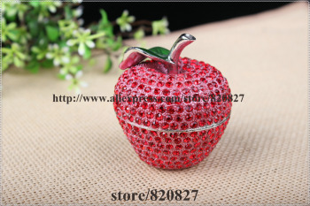 цена на Delicious Crystal Fruit Apple Pewter Hinged Trinket Box Apple Shaped Painted Trinket Box Small Jewelry Container