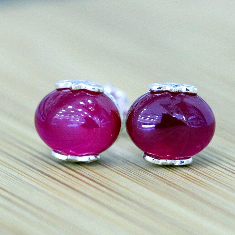 He nouveau S925 bijoux en argent sterling creux sculpté rouge juste minimaliste boucles d'oreilles dame