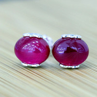 he new S925 sterling silver jewelry hollow carved red just minimalist earrings Lady