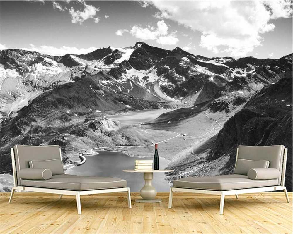 beibehang 3d wallpaper Black and white HD snow mountain scenery beautiful simple European style wall custom