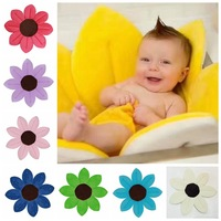 80cm Sunflower Baby Bathtub Newborn Flower Shape Mat Soft Seat Foldable Infant Sink Shower Play Bath Cushion Mats Baby Care