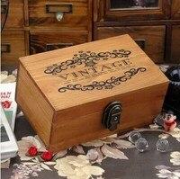 AIBEI-Zakka kruidenier Houten Opbergdoos met de lock Eiffeltoren Houten Dozen Craft Accessoires