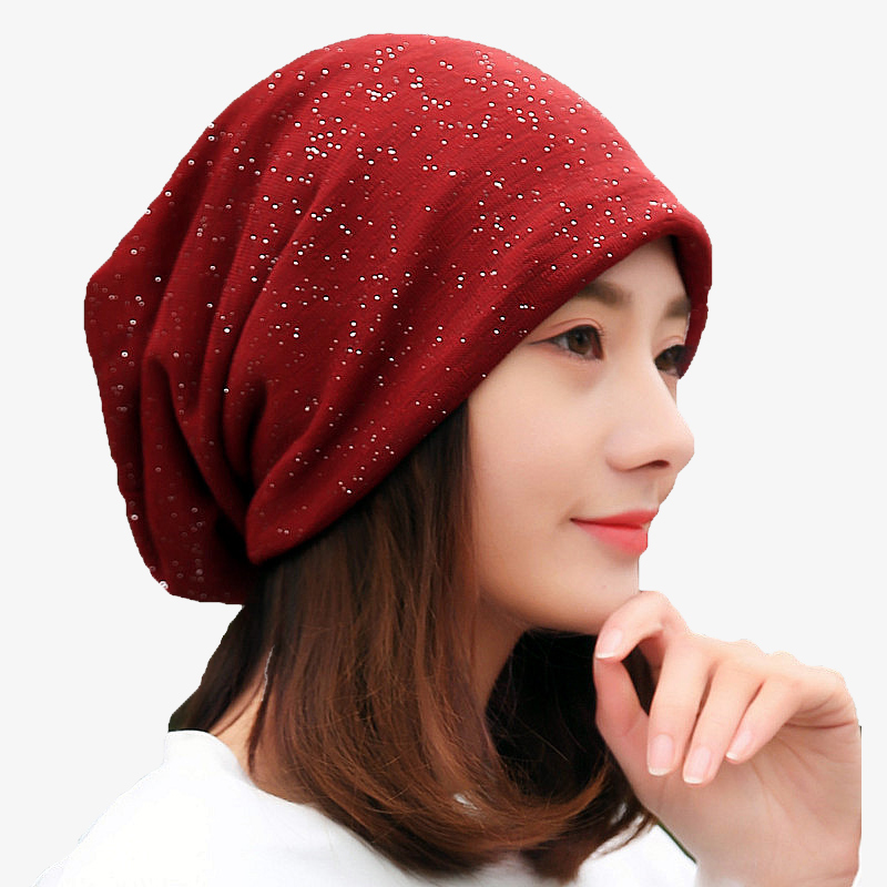 Brand Women Sequine Design Autumn Winter Hats For Ladies Thin Girl Hat Beanies Knitted Skullies Hat Cap Female Solid Color Gorro