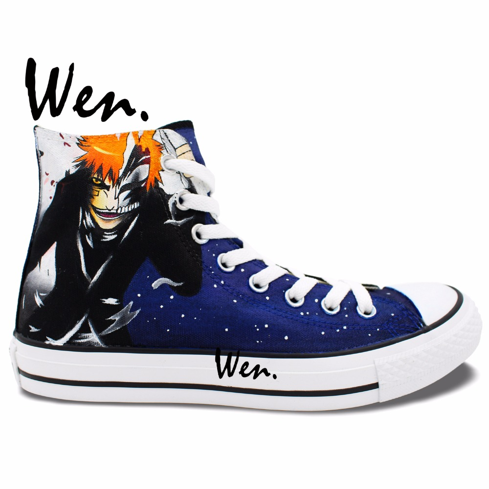Prix pour Wen Bleu Peint À La Main Chaussures Anime Bleach Kurosaki Ichigo kenpachi Hommes Femmes High Top Toile Sneakers pour Cadeaux D'anniversaire