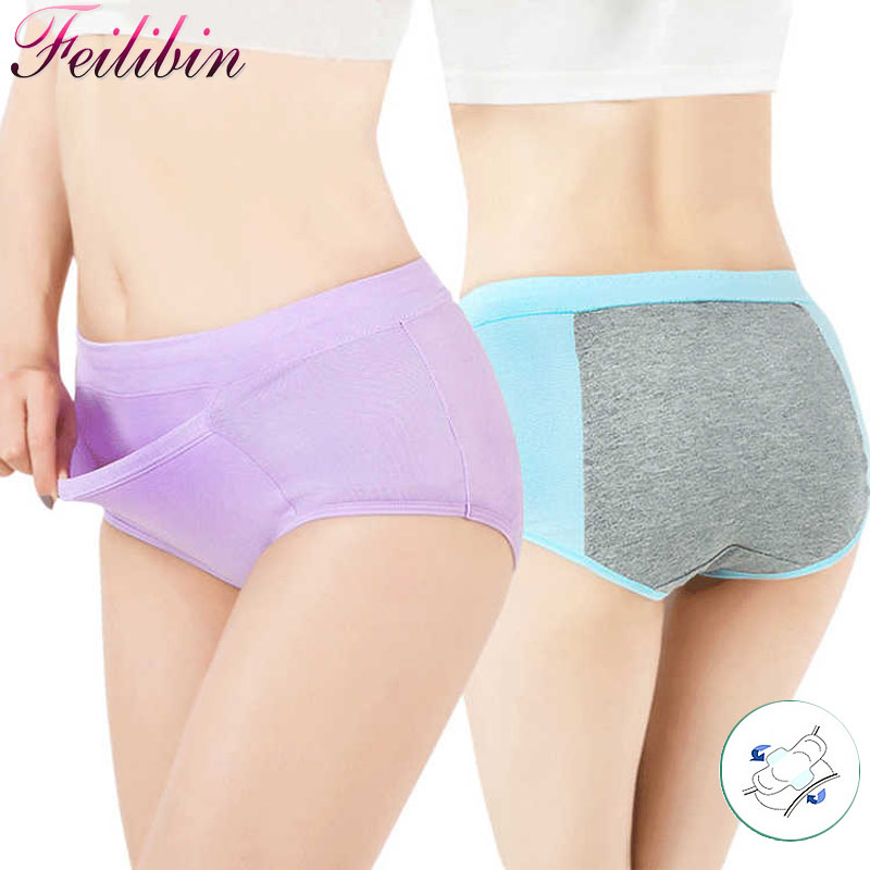 Feilibin Women Physiological Pants Leak Proof Menstrual Period   Panties   Mid Waist Underwear Healthy Cotton Seamless Women Briefs