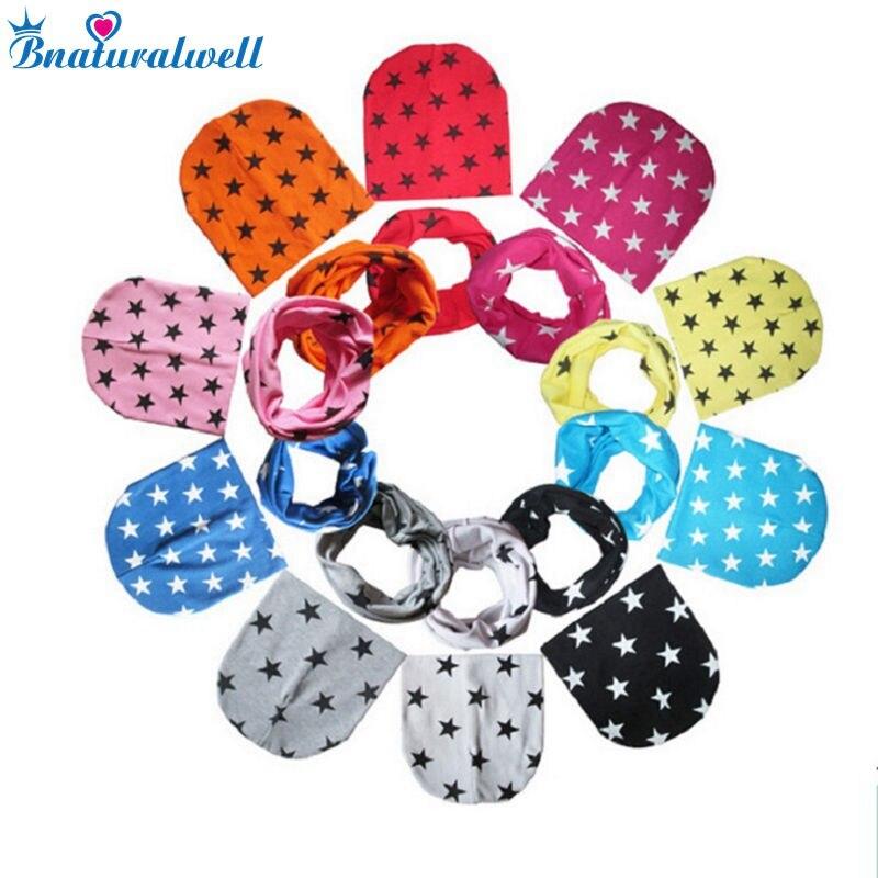 Bnaturalwell Fashion Baby Boys Girls Star Beanie Hats Scarf Set 2 Pcs Set Toddler Cap Child Spring warm knitted hat 1set H773