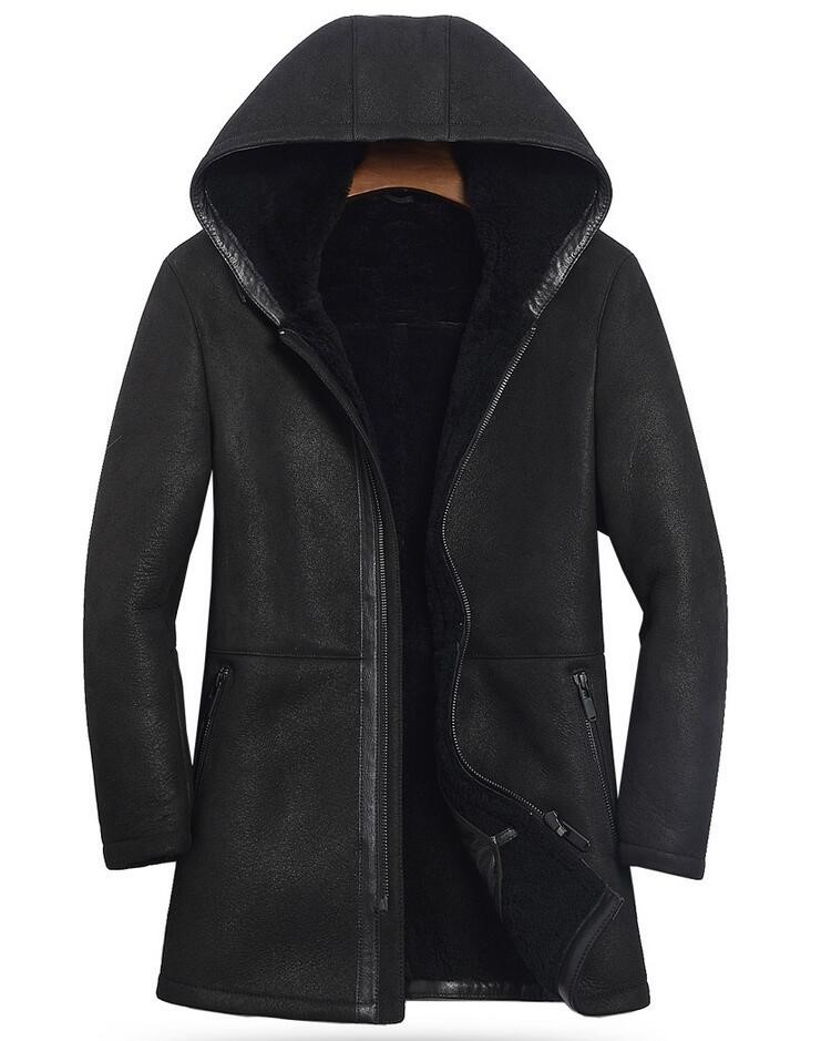 2018 New Mens Thick Genuine Leather Jackets Fur One Sheepskin Male Hooded Leather Jacket Roll Color Black Real Leather Coat