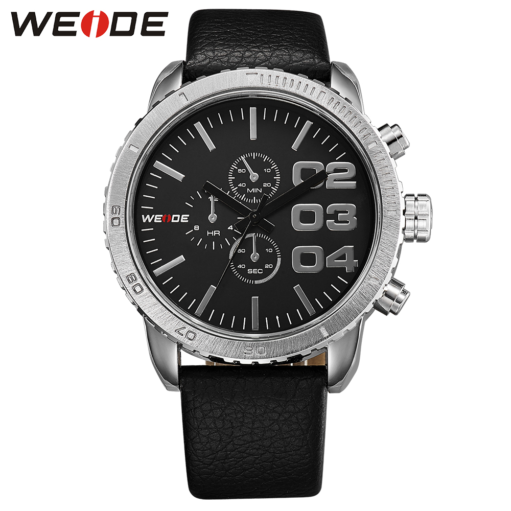 ФОТО WEIDE Hot Sale Fashion Men Leather Strap Watches Brand Famous Military Analog 30 Meters Waterproof Display Japan Quartz Clock