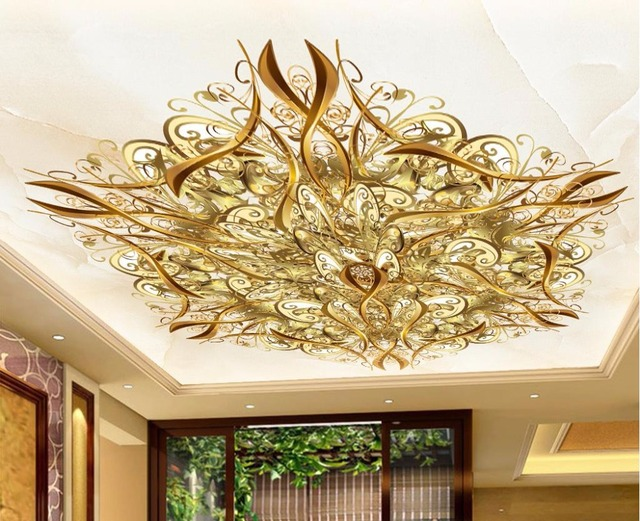 European style Superior quality Ceiling Wallpaper Murals HD Gold pattern 3d Wall Murals Ceiling Decorative Paintings
