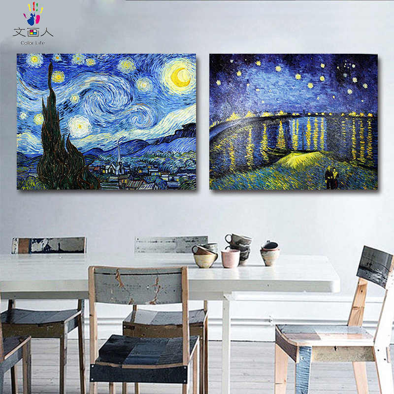 "Diy painting by numbers Vincent Van Gogh's paintings ""The Starry Night"" abstract Impression art pictures by numbers with frame"