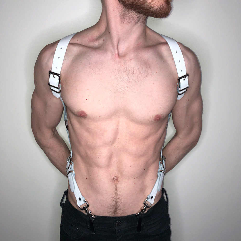 UYEE панк из искусственной кожи мужской сбруя бондаж для тела сексуальные плечевые ремни для мужчин дизайнер пояс БДСМ фетиш ремни с возможностью регулировки LM-026