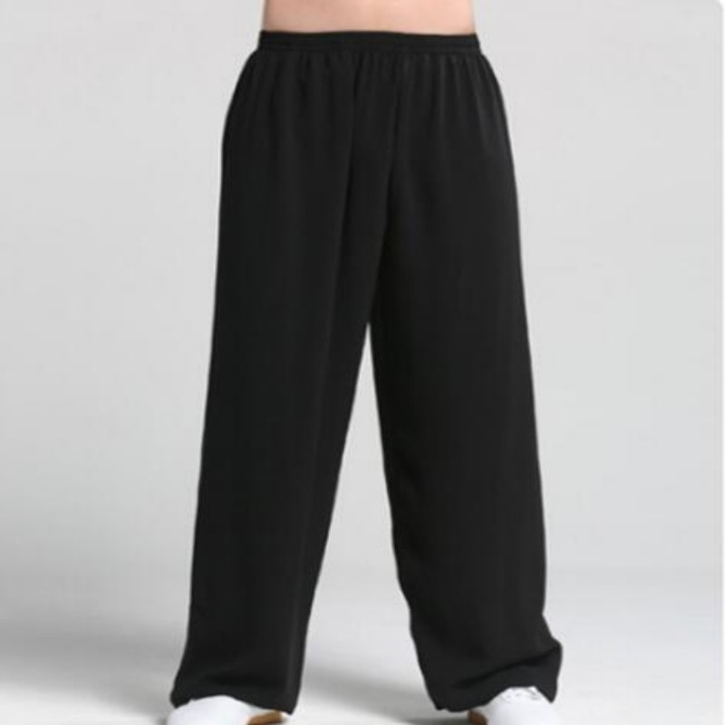 Chinese Style Traditional Kung Fu Pants Tai Chi Sport Pants For Men Wu Shu Kendo Martial Arts Trousers For Male Black White
