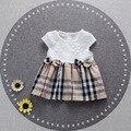 2016 новые летние новорожденных девочек платье о-образным вырезом хлопок 1 год рождения платье плед англия одежда костюм 7-24 М vestido infantil