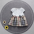 2016 new summer newborn girls dress o-neck cotton 1 year birthday dress plaid england clothes suit 7-24M vestido infantil
