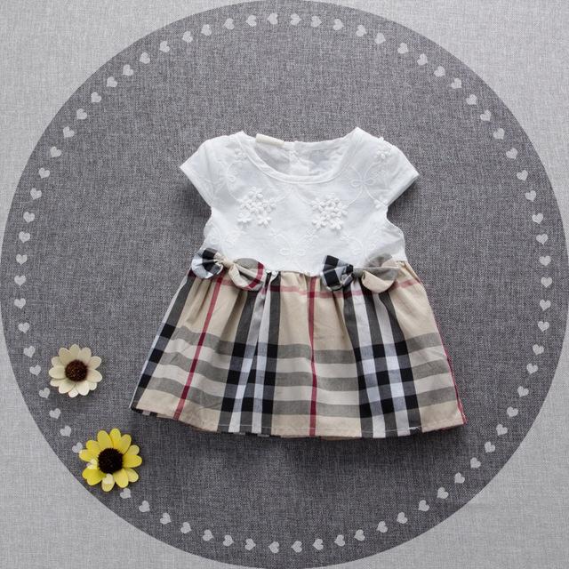 2016 nuevo verano recién nacido niñas o-cuello de algodón 1 año de cumpleaños vestido a cuadros inglaterra ropa traje 7-24 M vestido infantil