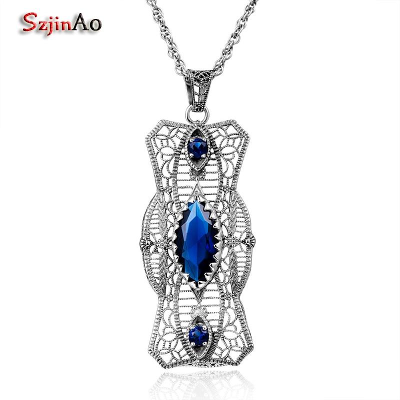 47987c510b04 ✅Szjinao mujeres retro moda colgante encanto 925 de plata esterlina ...