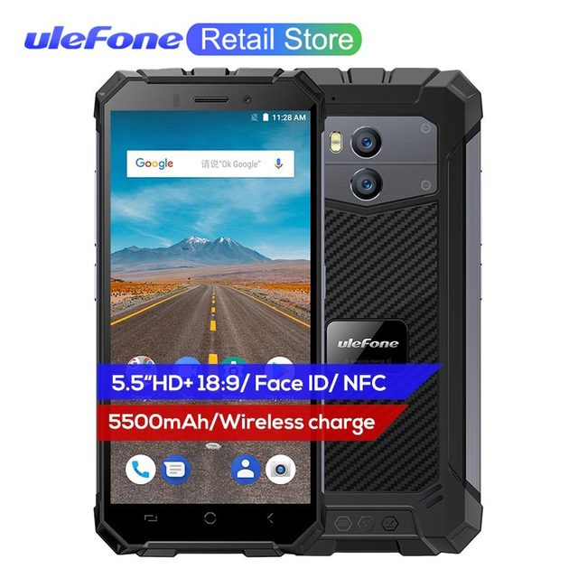 """Ulefone Armor X Waterproof IP68 Smartphone 5.5"""" 18:9 MTK6739 Dual 4G Android 8.1 2G+16G 13MP NFC Face ID 5500mAh Wireless Charge"""