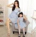 Organza vestidos familia conjunto de moda de ropa vestidos para la madre e hija de la familia de la ropa muchachas viste ropa de verano, LY07