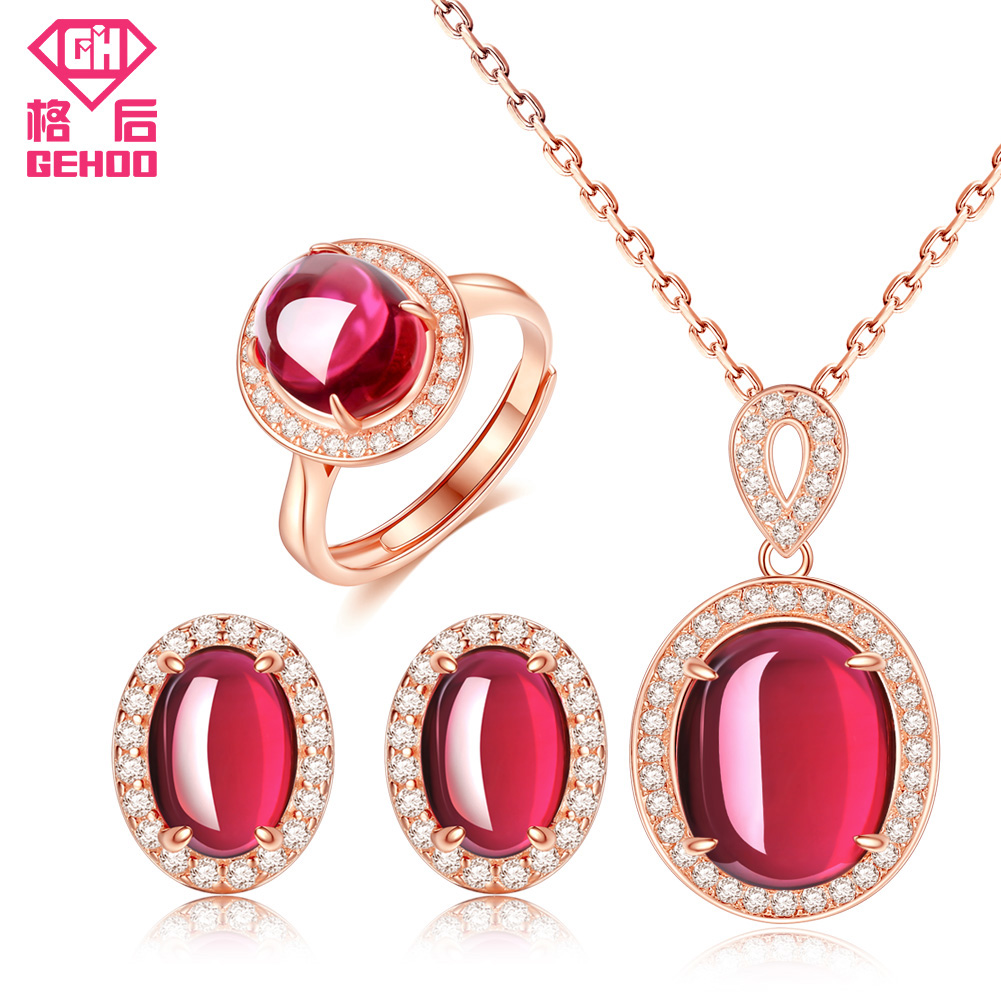 GEHOO New Pretty Red Ruby Bridal Wedding Jewelry Set Women CZ Paved Gemstone 925 Sterling Silver Earrings Pendant Necklace Ring bimoo 4 packs twisted flashabou holographic tinsel fly fishing tying crystal flash for jig hook lure making material