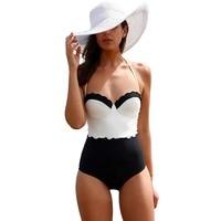 POLOVI 2016 Elegant Halter Push Up Bikini Monokini Swimsuit Bathing Suit High Waist Bra Swimwear Womens